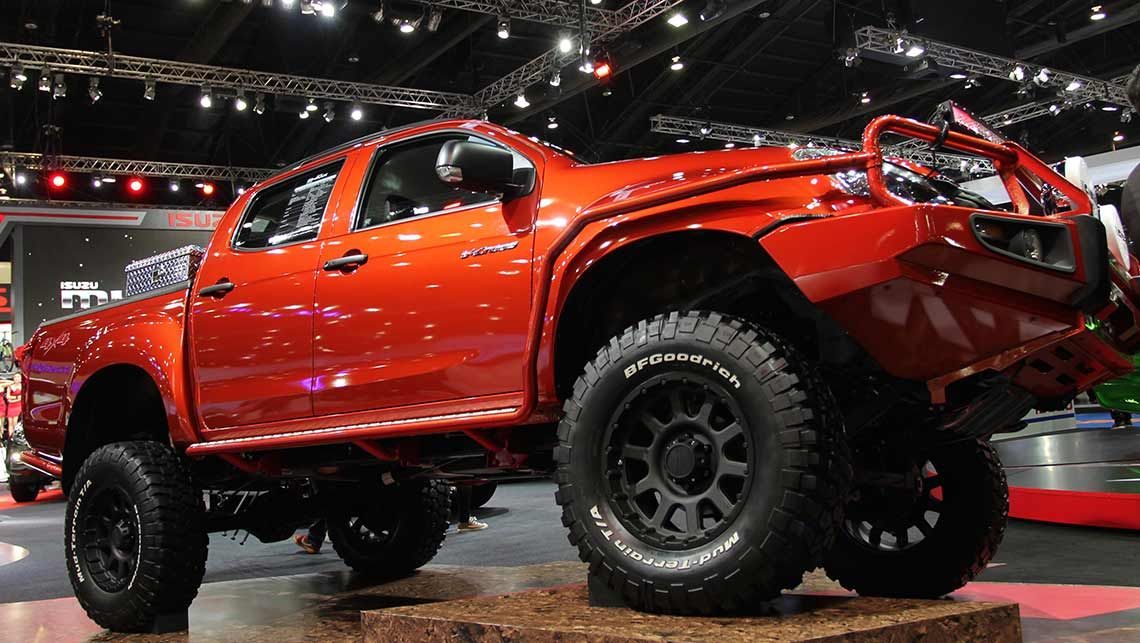 super-tough off-road D-Max complete with raised suspension, knobby mud tyres and massive chunky bull bar.